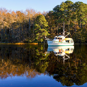 Anchored by Justin Orr - Transportation Boats ( water, autumn, fall, boat, canal, anchor )