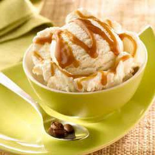 Mexican Coffee Caramel Sauce Over Ice Cream.