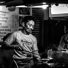 With Love  by Aprian Wardana - Black & White Portraits & People ( black and white, human interest, cooking, candid, people, photo )