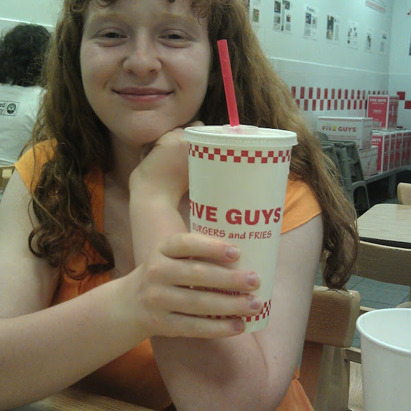 Yay a GF night out with the kids at Five Guys.  another great pile of GF fries/burgers