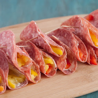 Salami and Cream Cheese Roll Ups.