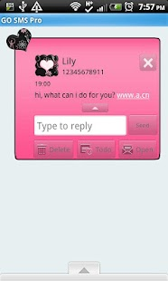 GO SMS THEME/GirlyPinkBlack- screenshot thumbnail