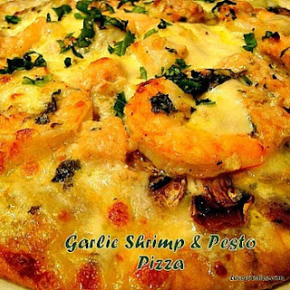 Shrimp, Garlic & Pesto Pizza