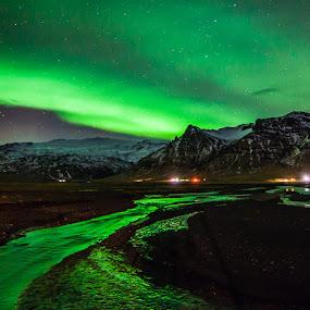 Aurora over Eyjafjallajökull by Páll Jökull Pétursson - Landscapes Mountains & Hills ( suðurland, eyjafjöll, 2014, green, aurora borealis, norðurljós, canon eos 5d mkii, landscape, rokinon, lights, iceland, 14mm, night, northen lights,  )