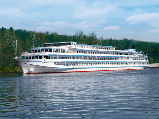 Uniworld-River-Victoria-exterior - The boutique cruise ship River Victoria makes her way along the shores of the Volga River in Russia.