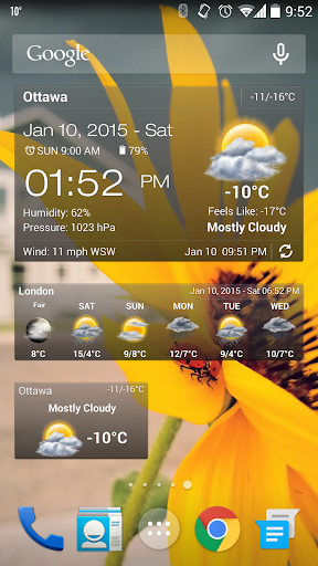 天气与时钟小工具没有广告 - Android