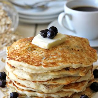 Blueberry Oatmeal Yogurt Pancakes