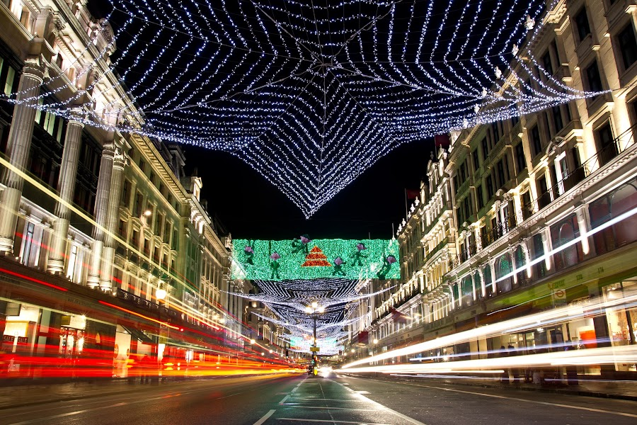 Regent St, London, Christmas time by Marko Pletikosa - City,  Street & Park  Night