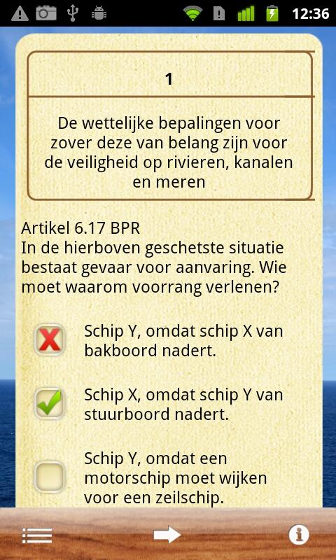 Vaarbewijs- screenshot