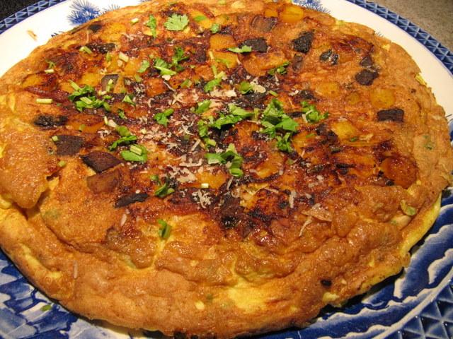 Savory Squash and Mushroom Frittata with Jalapeno and Cinnamon Recipe