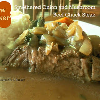Slow Cooker Smothered Onion and Mushroom Beef Chuck Steak.