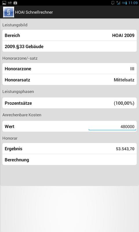 HOAI Honorar-Schnell-Rechner - screenshot
