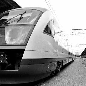 Romanian arrow by Daniel MV - Black & White Street & Candid ( train )