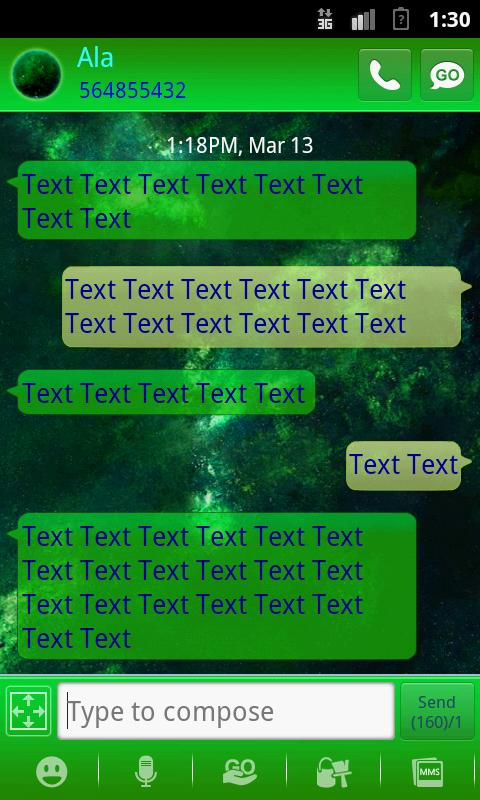 GO SMS PRO Planets theme - screenshot