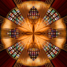 Music of the Spheres by Pat Eisenberger - Abstract Patterns ( stained, religion, kaleidoscope, church, organ, sanctuary, glass, pipes )