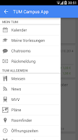 Screenshot of TUM Campus App