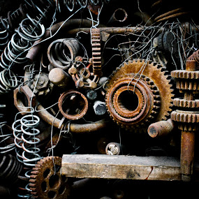 Obsolete by Renato Marques - Artistic Objects Technology Objects ( old, technology, parts, rust, mechanic,  )