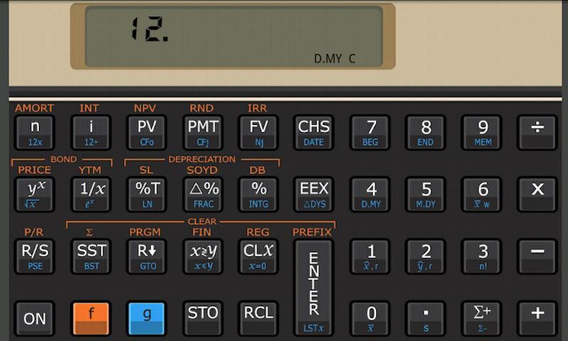 Andro12C financial calculator - screenshot