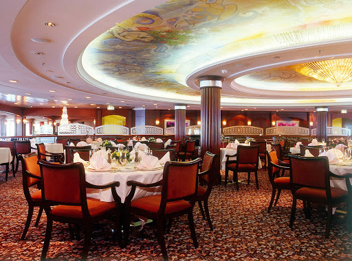The main dining room on Crystal Serenity.
