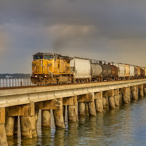 CSX by Jeannie Meyer - Transportation Trains ( water, bay st louis, gulf coast, csx, waterscape, train,  )