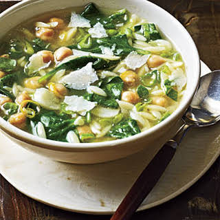 Spinach, Pasta, and Pea Soup.