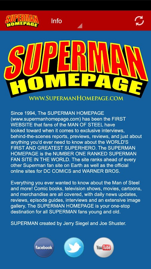 Superman Homepage- screenshot