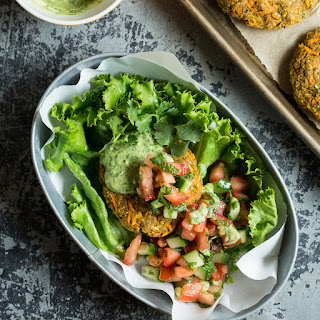 Moroccan Yam Veggie Burgers with Cilantro Lime Tahini Sauce