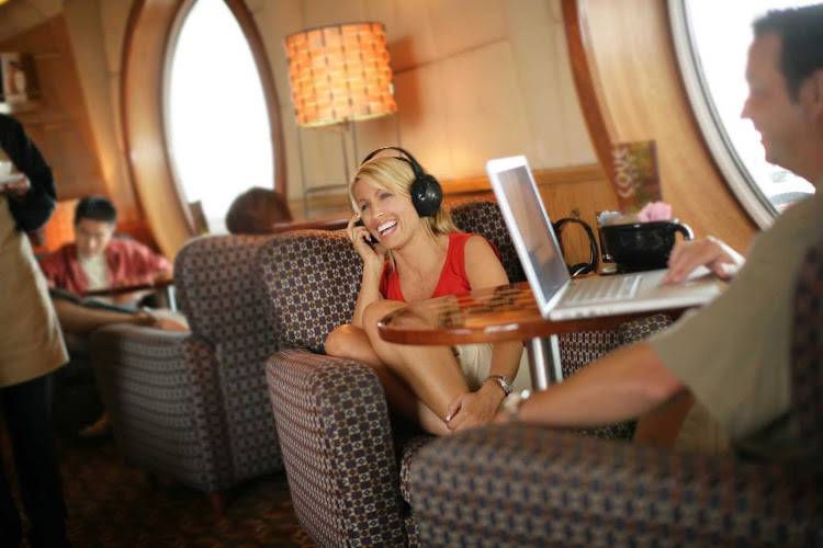 Hop on the Internet at Cove Café, an adults-only lounge on deck 9 of Disney Magic and Disney Wonder. Cruise lines offer Internet access in public rooms and most staterooms under a wide range of price plans.