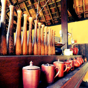 Patterns of Wood for Cups and Bottles, Sogan, June 2011 by Diadjeng Laraswati H - Artistic Objects Cups, Plates & Utensils (  )