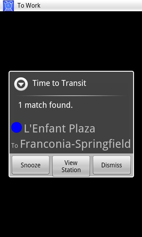 DC Transit Alarm - screenshot