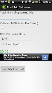 Road Trip Calculator Screenshot 1