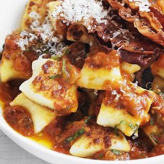 Pan-fried Gnocchi With Roast Tomato And Basil Sauce And Crispy Pancetta