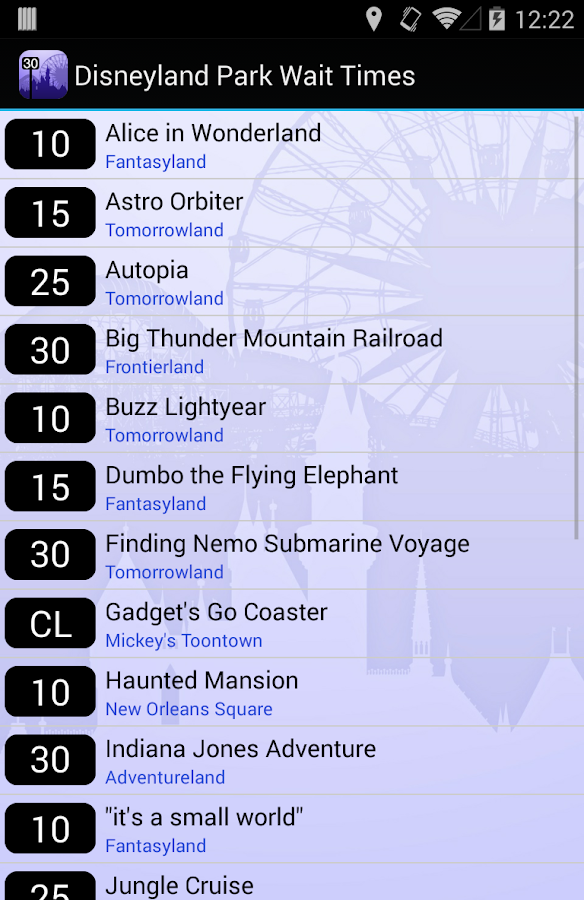 Disneyland Wait Times- screenshot