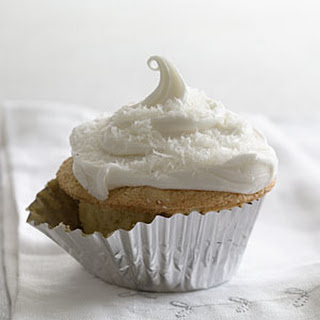 Coconut Chiffon Cupcakes With Marshmallow Frosting.