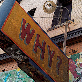 WHY? Sign on 6th Street by Bill      (THECREOS) Davis - Artistic Objects Signs ( sign, sharp, street art, ?, san francisco, why, Urban, City, Lifestyle,  )