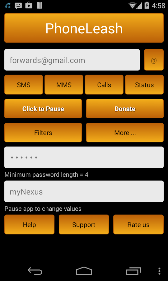 PhoneLeash: SMS/MMS forwarding- screenshot
