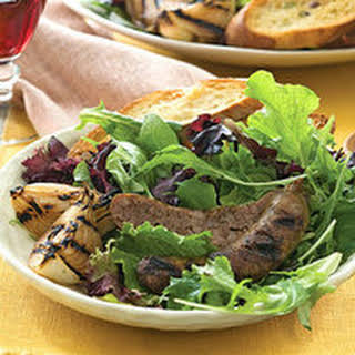 Grilled Sausage Salad with Ginger Crostini.