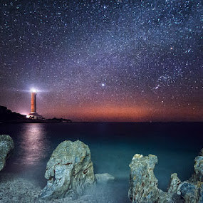 Under the Sky  by Zeljko Marcina - Landscapes Starscapes ( veli rat, adriatic, dugi otok, orion, stars, lighthouse, croatia, sea, sirius, night, milky way,  )