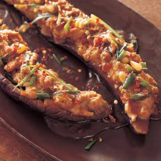 Asian Eggplant Stuffed with Spicy Minced Chicken.