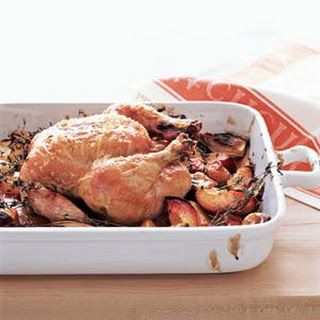Roast Chicken With Balsamic Peaches.