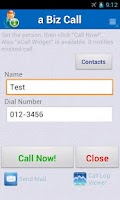 Screenshot of a Biz Call - Simple Contacts