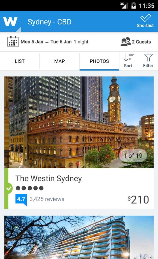 Wotif hotel bookings on the go - screenshot