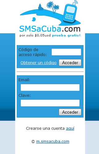 SMS a Cuba