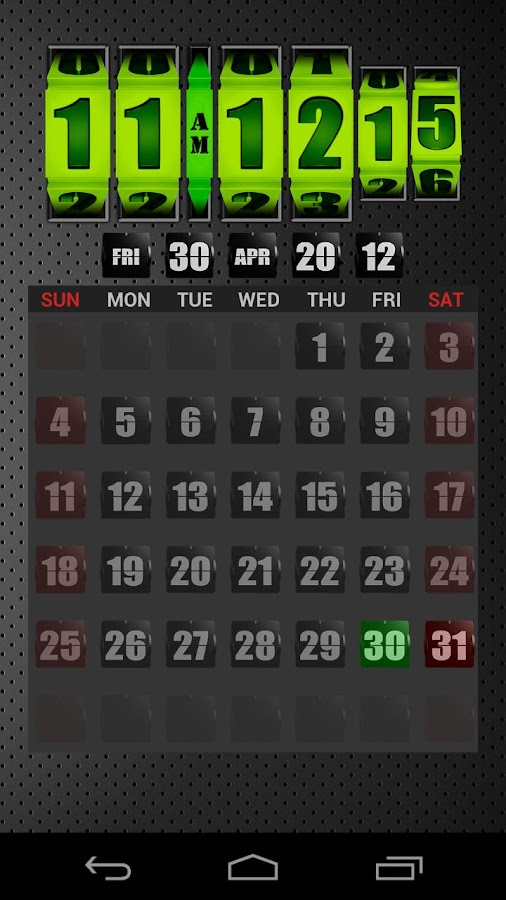 3D Rolling Clock GREEN- screenshot
