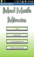 Screenshot of Mad Math Minute
