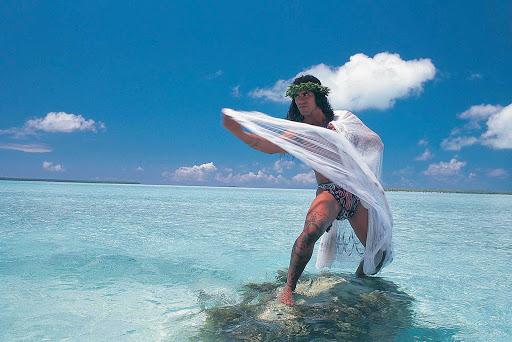 A local man fishes in the Tuamotu atolls of Rangiroa.