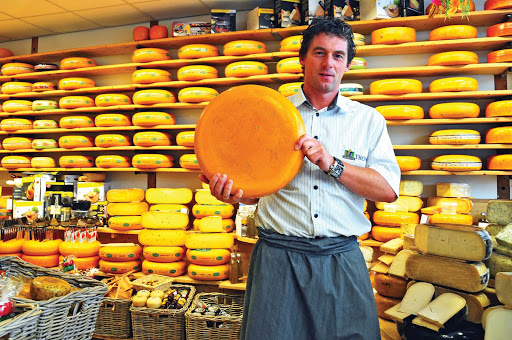 A cheese vendor in Alkmaar, north of Amsterdam in the Netherlands.