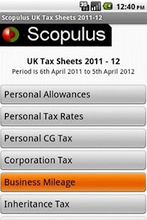 UK Tax Sheet 2011-12 - screenshot thumbnail