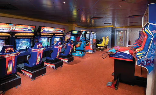 Norwegian-Jewel-Video-Arcade - Kids and teens (and adults young at heart!) will love the car racing,  jet fighting and other games at Norwegian Jewel's Video Arcade.