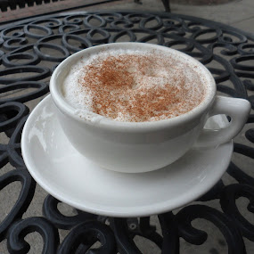 Cappuccino Al Fresco  by Anne Santostefano - Food & Drink Alcohol & Drinks ( food and drink, cappuccino, drink, coffee, cafe, table, outdoor cafe,  )